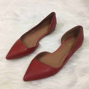 Aldo red leather flats